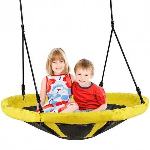 """Outdoor Kids 40"""" Flying Saucer Round Tree Swing Play Set with Adjustable Ropes"""