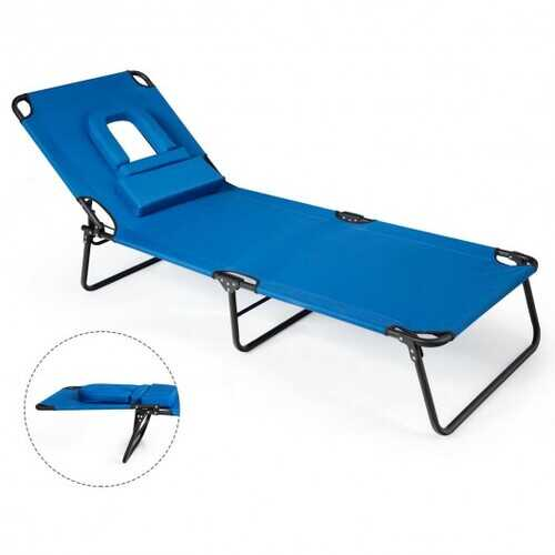 Folding Chaise Lounge Chair Bed Adjustable Outdoor Recliner