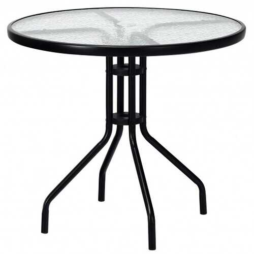 """32"""" Outdoor Patio Round Tempered Glass Top Table with Umbrella Hole"""