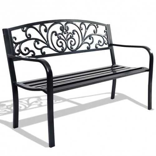 "50"" Patio Park Steel Frame Cast Iron Backrest Bench Porch Chair"