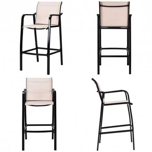 4 PCS Counter Height Stool Patio Chair-Gray