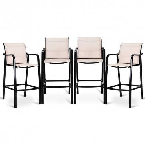 4 pcs Patio Counter Height Steel Frame Leisure Bar Chairs