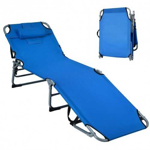 Folding Chaise Lounge Chair Bed Adjustable Outdoor Patio Beach-Blue