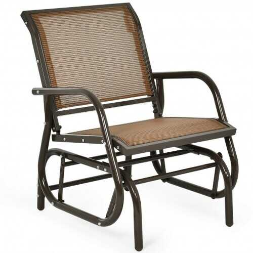 Outdoor Single Swing Glider Rocking Chair with Armrest-Brown