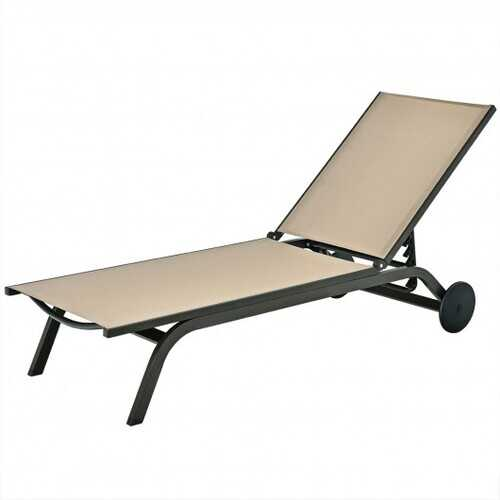 Aluminum Fabric Outdoor Patio Lounge Chair with Adjustable Reclining -Brown