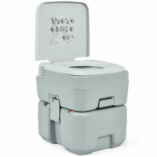 5.3 Gallon 20L Outdoor Portable Toilet with Level Indicator for RV Travel Camping