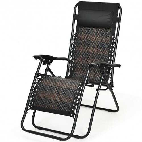 Folding Patio Rattan Zero Gravity Lounge Chair Recliner-Brown
