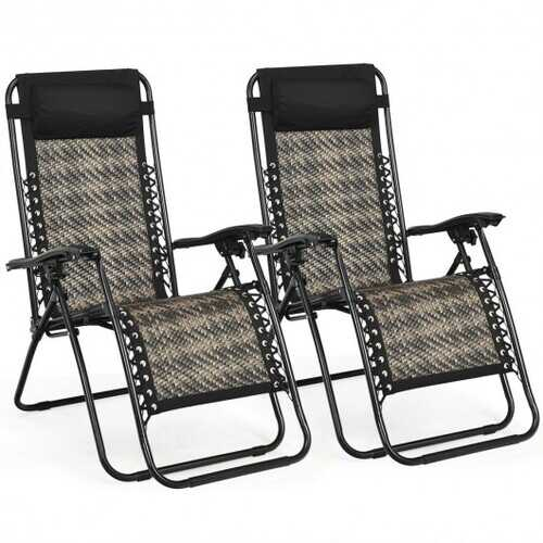 2Pcs Folding Patio Rattan Zero Gravity Lounge Chair-Brown