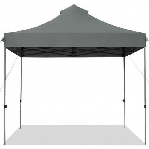 10' x 10' Portable Pop Up Canopy Event Party Tent Adjustable with Roller Bag-Gray