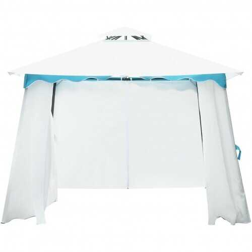 2-Tier 10' x 10' Patio Gazebo Canopy Tent w/ Side Walls