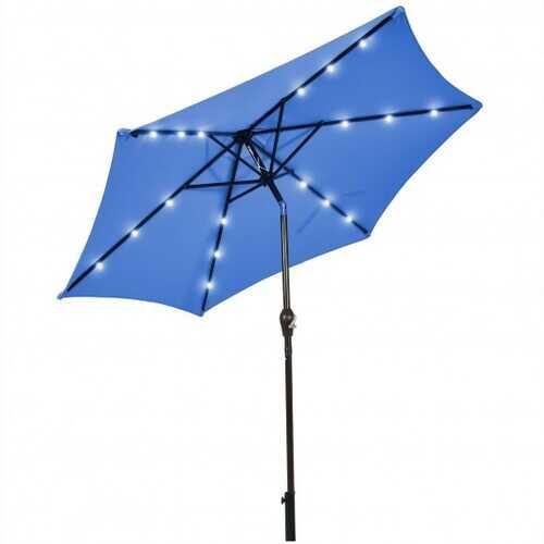 9' Solar LED Lighted Patio Market Umbrella Tilt Adjustment Crank Lift -Burgundy