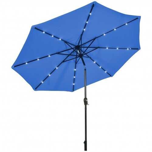 10' Solar LED Lighted Patio Market Umbrella Shade Tilt Adjustment Crank-Tan