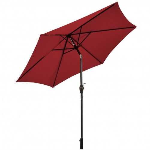 9 ft Outdoor Market Patio Table Umbrella Push Button Tilt Crank Lift-Burgundy