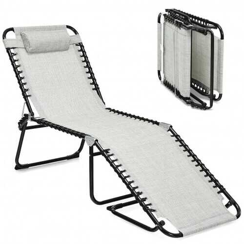 Folding Heightening Design Beach Lounge Chair with Pillow for Patio-Gray