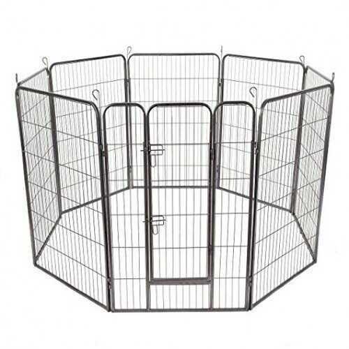 "8 Panel Metal Pet Puppy Dog Kennel Fence Playpen-48"""