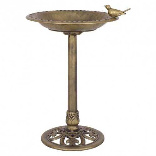 Antique Gold Freestanding Pedestal Bird Bath Feeder