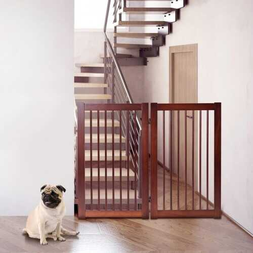 """36"""" Configurable Folding Wood Pet Dog Safety Fence with Gate-A"""