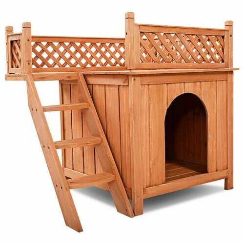 Wood Pet Dog House with Roof Balcony & Bed Shelter