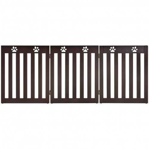 "24"" Folding Wooden Freestanding Dog Gate with 360° Flexible Hinge for Pet-Espresso"