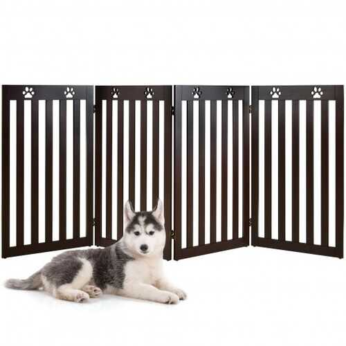 "36"" Folding Wooden Freestanding Pet Gate  with 360° Hinge-Espresso"