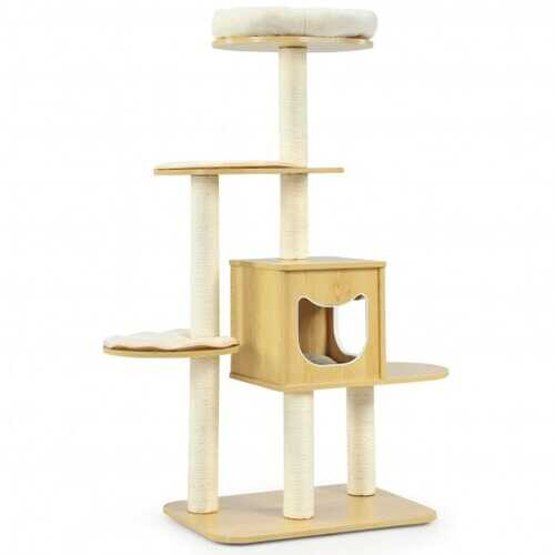 4 Levels Modern Wood Cat Tower with Washable Mats-Walnut