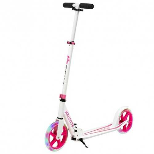 Portable Folding Sports Kick Scooter w/ LED Wheels-Pink