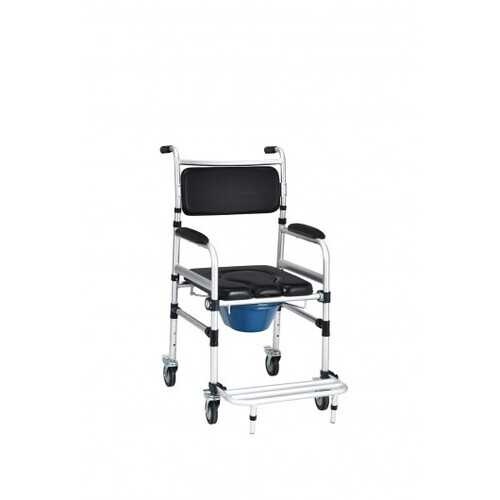 2-in-1 Aluminum Commode Shower Wheelchair with Locking Casters