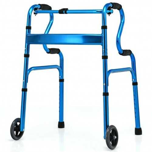 Aluminum Heavy-Duty Folding Wheeled Stand-Assist Walker-Blue