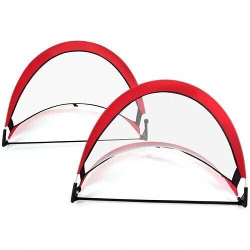 Two Pop Up Soccer Goal Set Foldable Training Football Net-4'