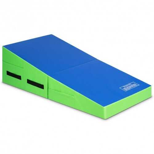 Folding Wedge Exercise Gymnastics Mat with Handles-Green