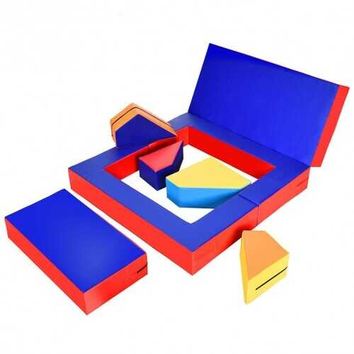 4-in-1 Crawl Climb Foam Shapes Toddler Kids Playset-Blue