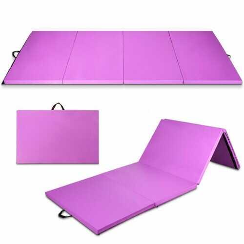 "8' x 4' x 2"" Folding Gymnastics Tumbling Mat-Purple"