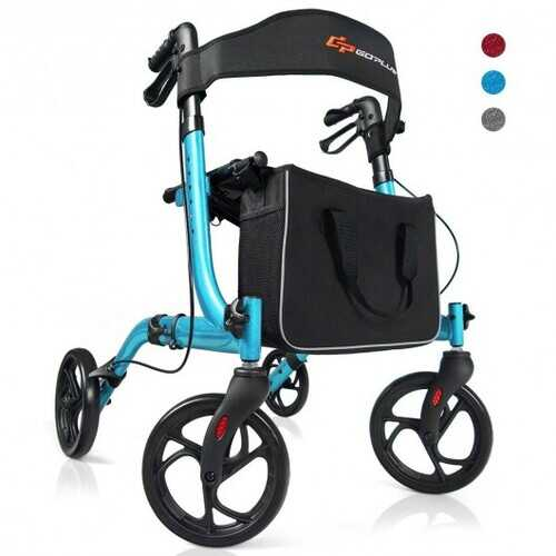 Folding Aluminum Rollator Lightweight Medical Walker-Gray