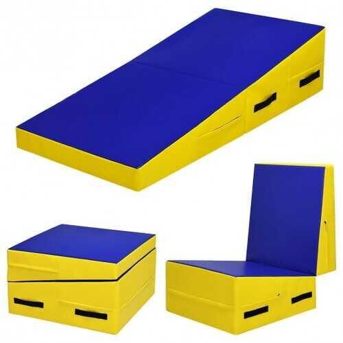 Folding Incline Tumbling Wedge Gymnastics Mat-Pink