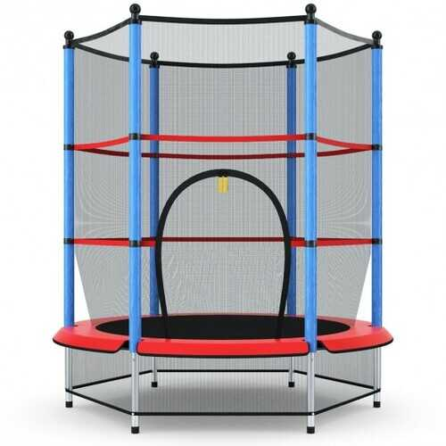 """55"""" Youth Jumping Round Trampoline with Safety Pad Enclosure-Blue"""