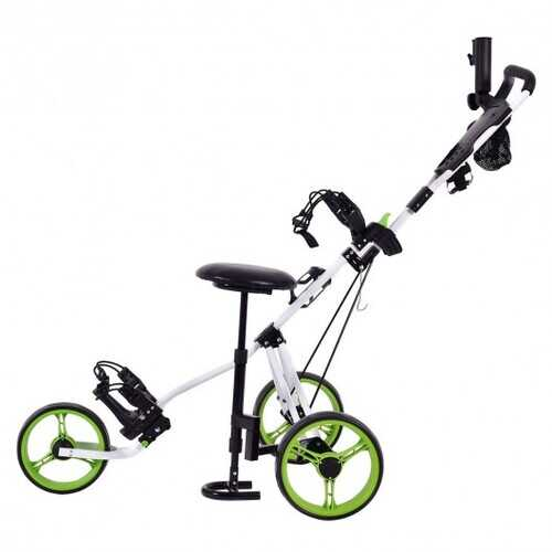 Foldable 3 Wheels Push Pull Golf Trolley with Scoreboard Bag