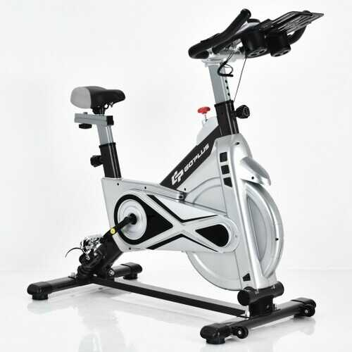 Stationary Silent Belt Adjustable Exercise Bike with Phone Holder and Electronic Display-Black
