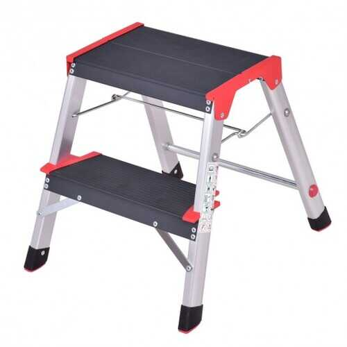 2 Step Aluminum Ladder Folding Non-Slip Platform 330Lbs Load