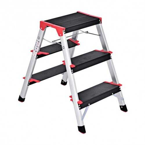 3 Step Aluminum Lightweight Ladder Folding Non-Slip Stool