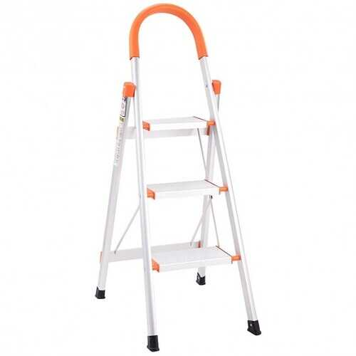 3-Step Aluminum Folding ladder with Handgrip Hold up to 330 lbs