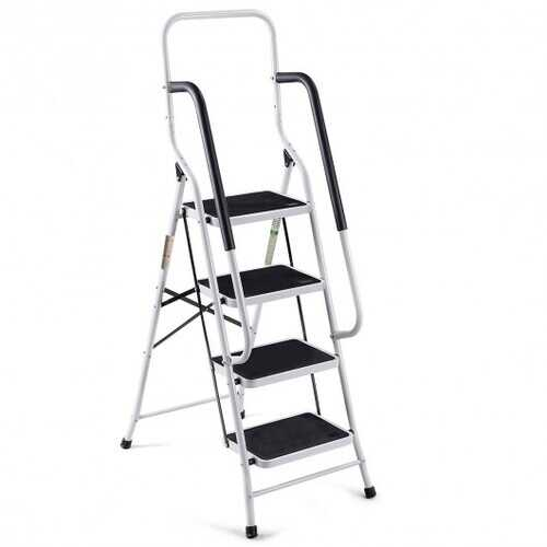 2-in-1 Non-slip 4 Step Folding Stool Ladder with Handrails