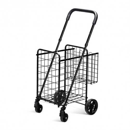 Folding Shopping Cart Basket Rolling Trolley with Adjustable Handle-Black