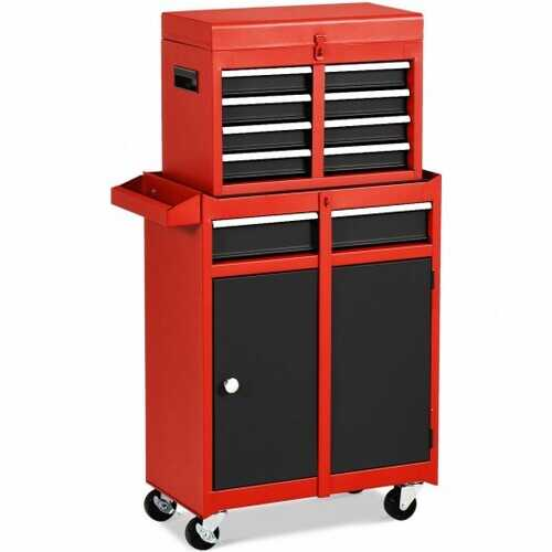 2-in-1 Tool Chest & Cabinet with 5 Sliding Drawers-Black & Red