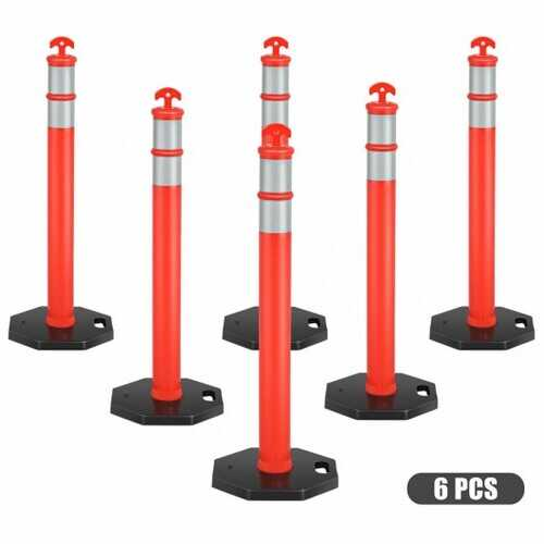 "6 Pack 45"" Orange Traffic Delineator Post Cone"