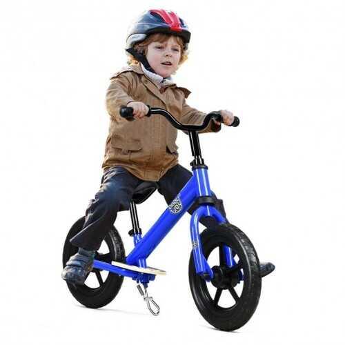 "12"" Kids No Pedal Balance Bike with Adjustable Seat-Blue"