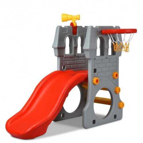 Children Castle Slide with Basketball Hoop and Telescope