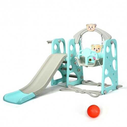 3 in 1 Toddler Climber and Swing Set Slide Playset-Green