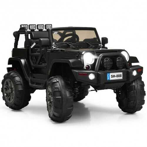 12V Kids Remote Control Riding Truck Car with LED Lights-Black