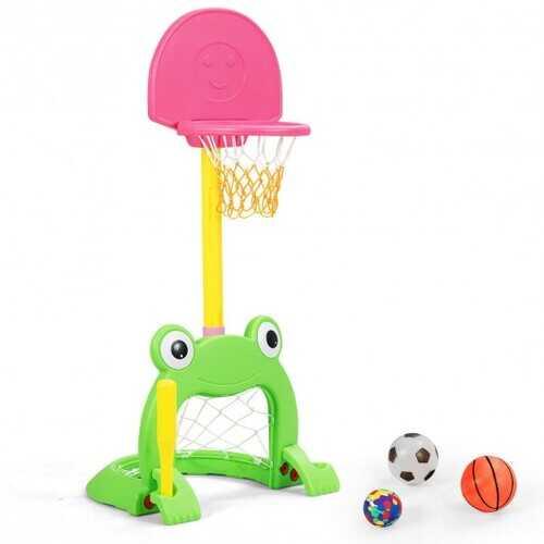 3-in-1 Kids Basketball Hoop Set Stand