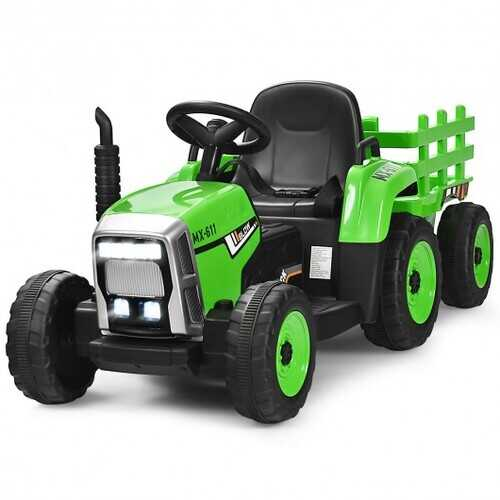 12V Kids Ride On Tractor with Trailer Ground Loader-Green
